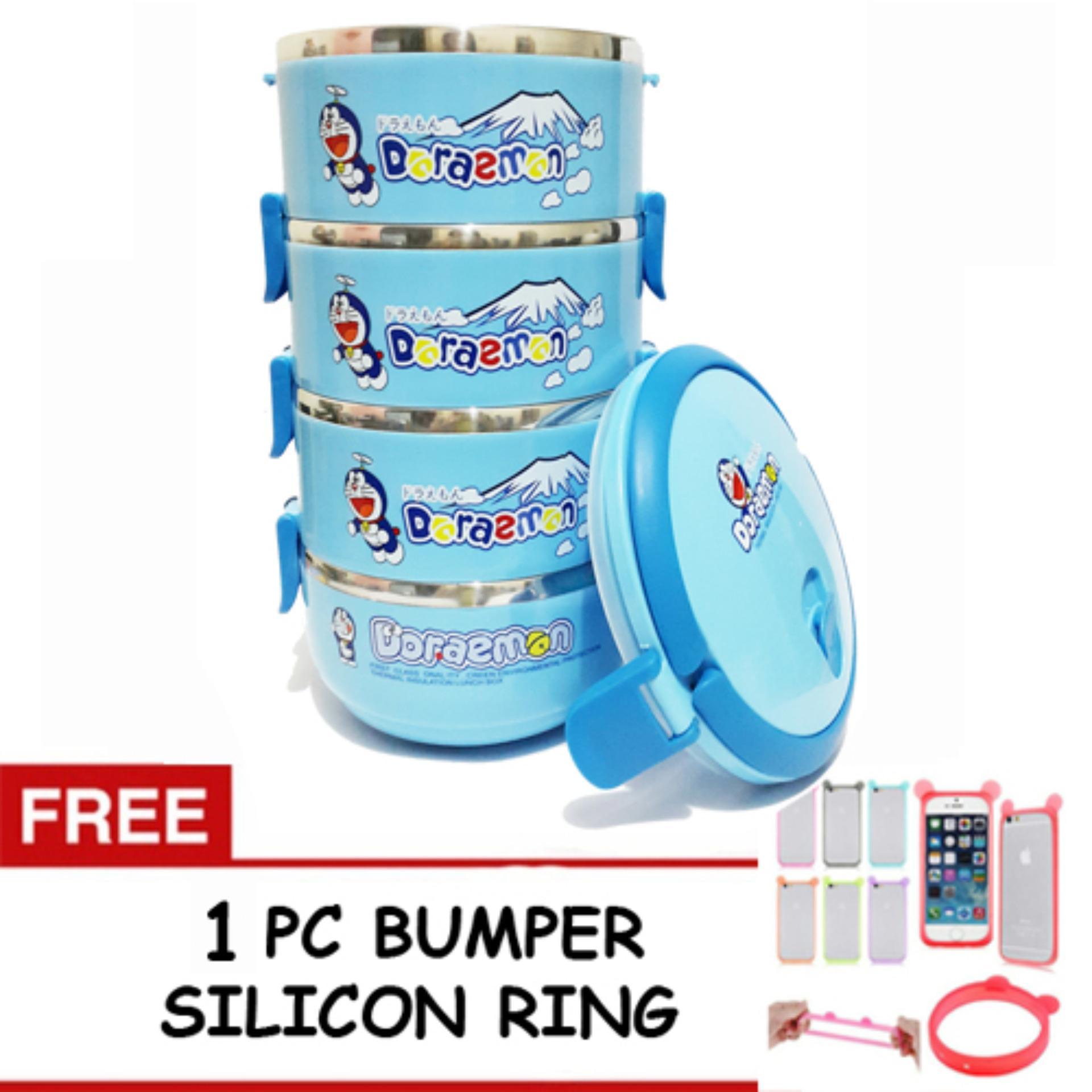 Beli Oem Rantang Lunch Box Stainless Karakter 4 Susun Free 1 Pc Bumper Silikon Pelindung Handphone Online Murah