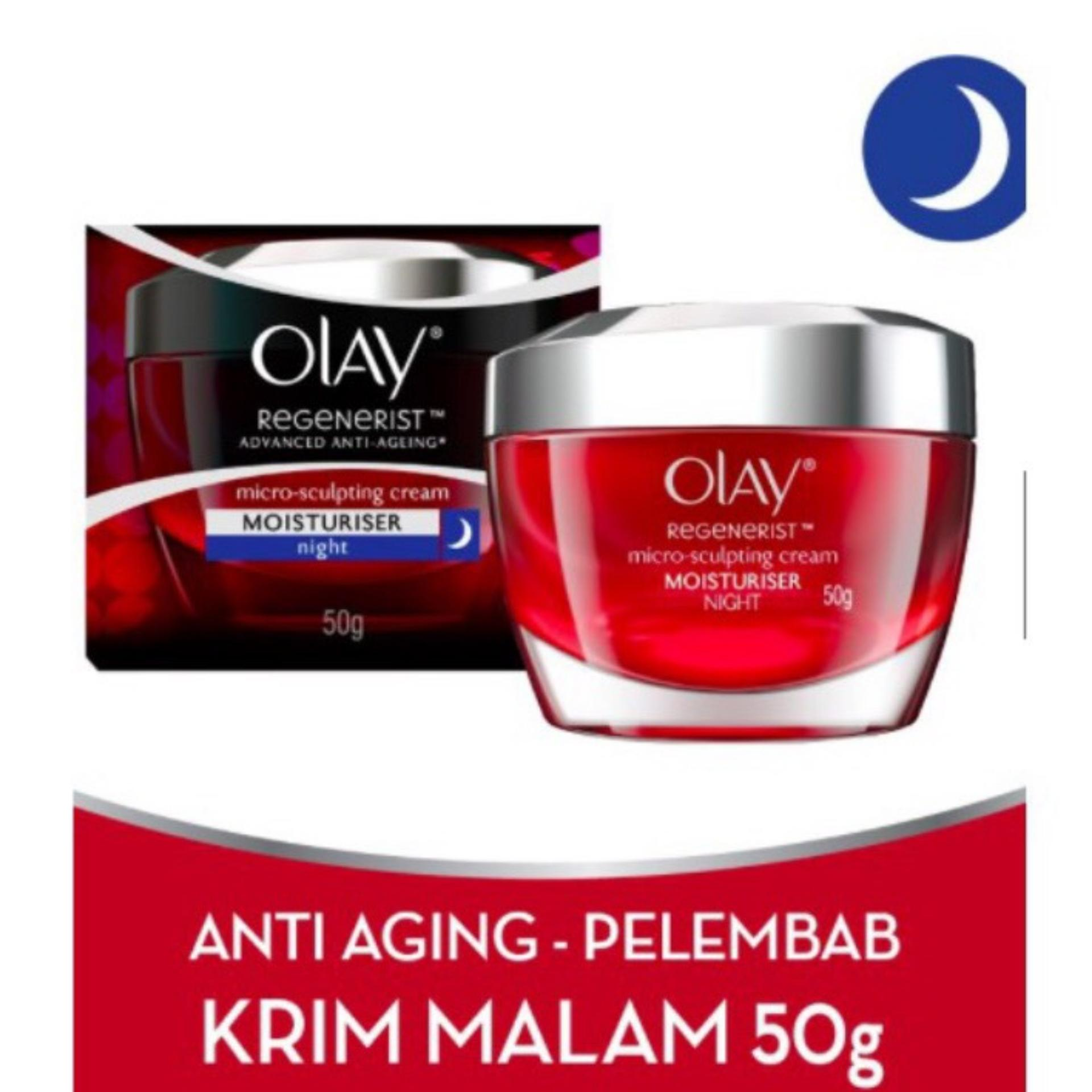 Spesifikasi Olay Regenerist Micro Sculpting Cream Night 50Gr Original Guarantee Krim Malam Anti Aging Olay Terbaru