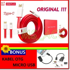 One Plus Kabel Data Micro Usb Type C Original For OnePlus 2 / OnePlus 3 Fast Charging - Merah + Bonus Kabel Otg Micro Usb