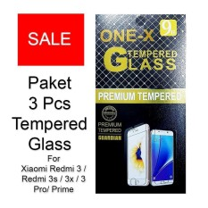 ONE-X Paket 3 Pcs 2.5D Rounded Tempered Glass for Xiaomi Redmi 3 / Redmi 3s / Redmi 3x / Redmi 3 Pro (sama ukuran) - Clear