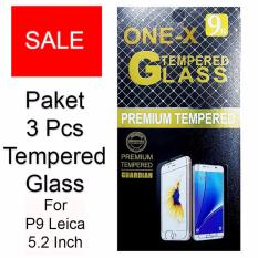 ONE-X Paket 3 Pcs 2.5D Rounded Tempered Glass for Huawei P9 Leica 5.2 Inch - Clear