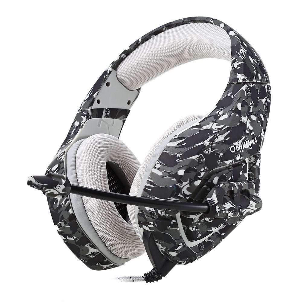 ONIKUMA K1 Stereo Gaming Headset 2.2 M Kabel Penampilan Kamuflase Bass Over-ear Headphone dengan MIC untuk Komputer Game -Intl