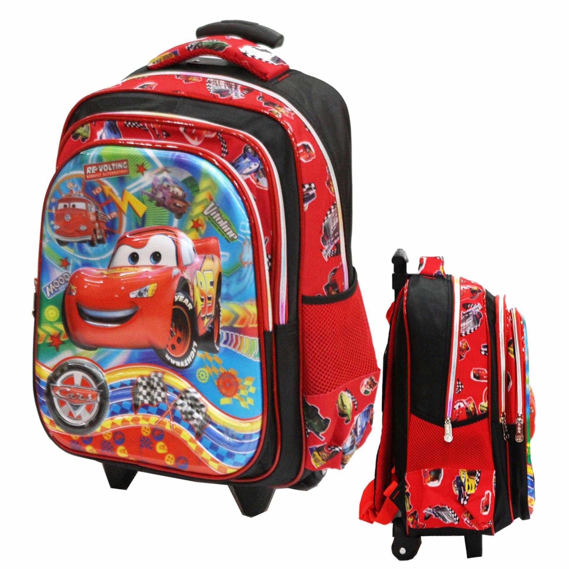 Jual Onlan Cars Mcqueen 5D Timbul Unik Tas Trolley Ukuran Anak Sekolah Sd Import Red Original