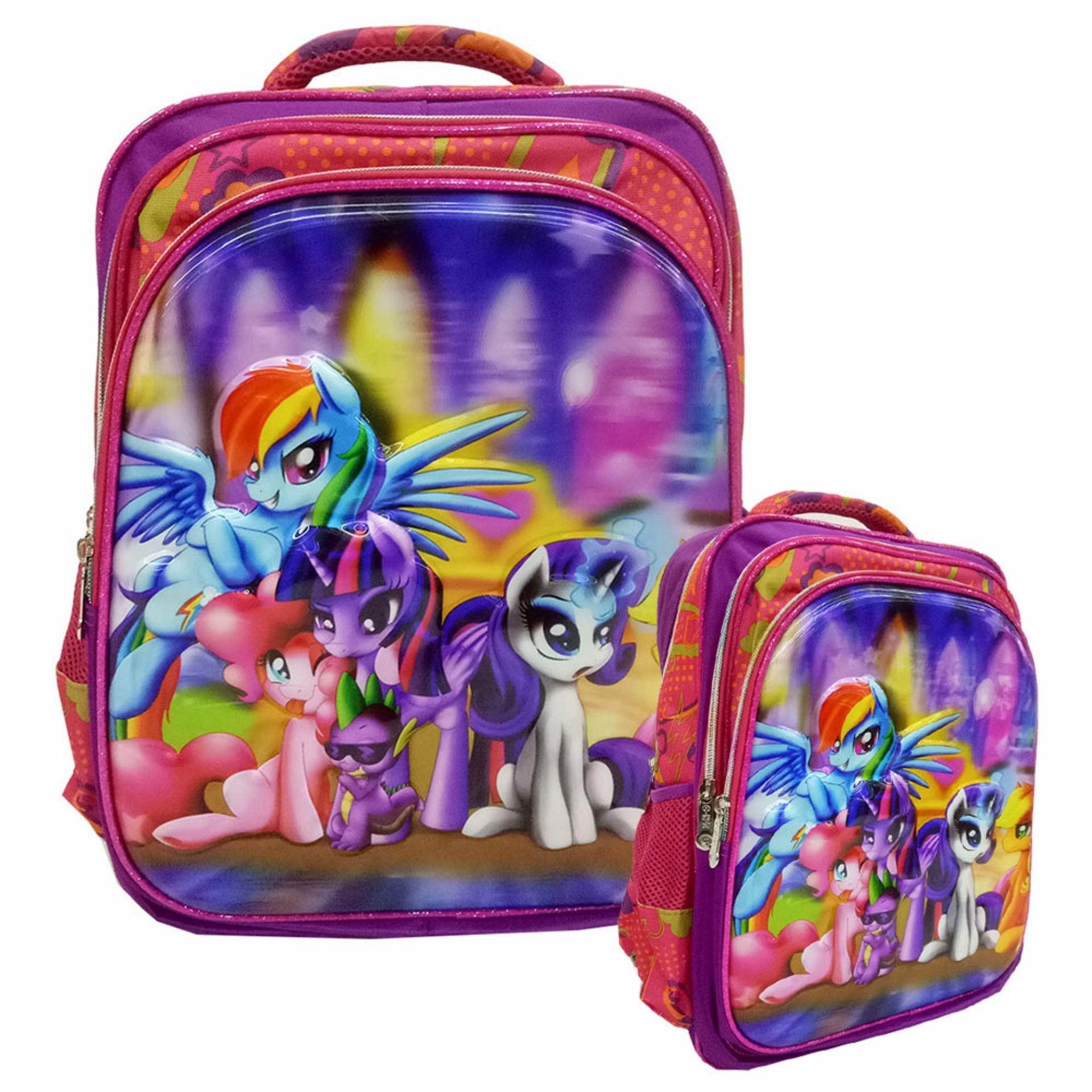 Model Onlan My Little Pony 5D Timbul Hologram Tas Ransel Anak Sd Import Purple Terbaru