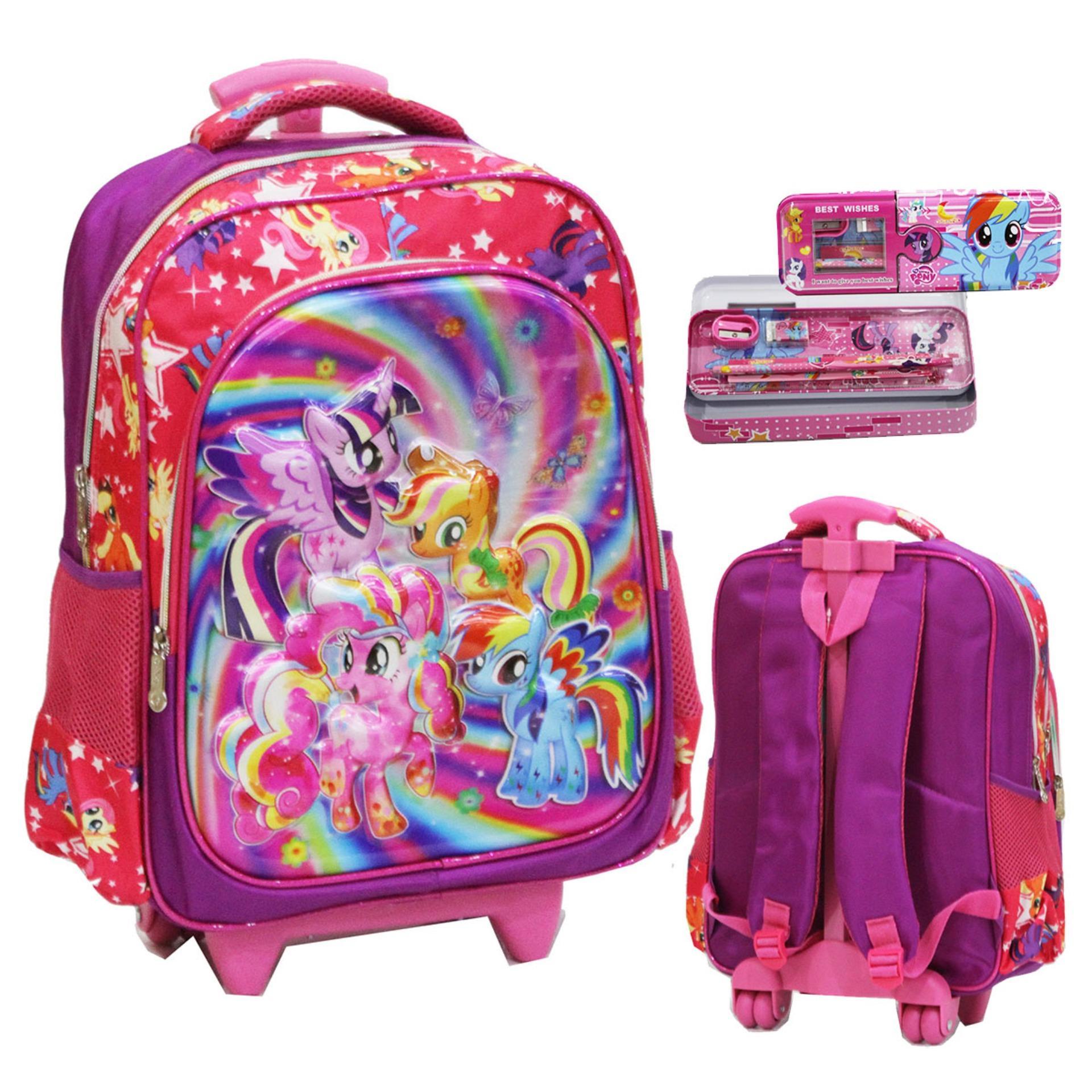 Onlan My Little Pony 5D Timbul Hologram Tas Trolley Sd Ukuran Besar Dan Kotak Pensil Pink Onlan Diskon 50
