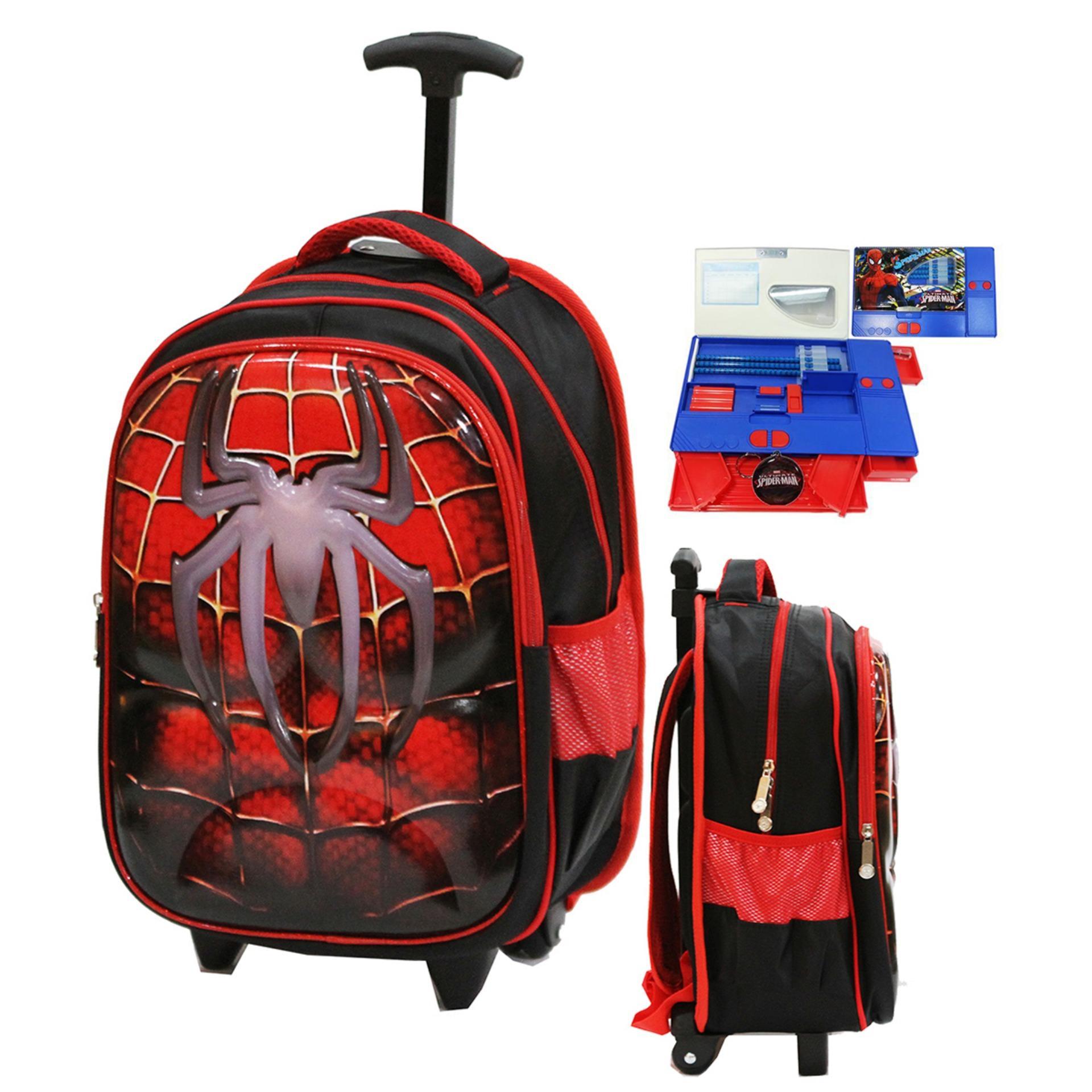 Onlan Spiderman Laba Laba 6D Soft Hard Cover Timbul Tas Trolley Anak SD Import + Kotak Pensil Magnet Jumbo - Red