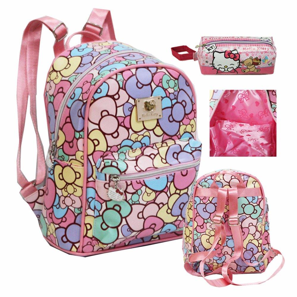 Jual Onlan Tas Fashion Anak Motif Hello Kitty Cantik Ukuran Sedang Dan Kotak Pensil Import Pink Branded