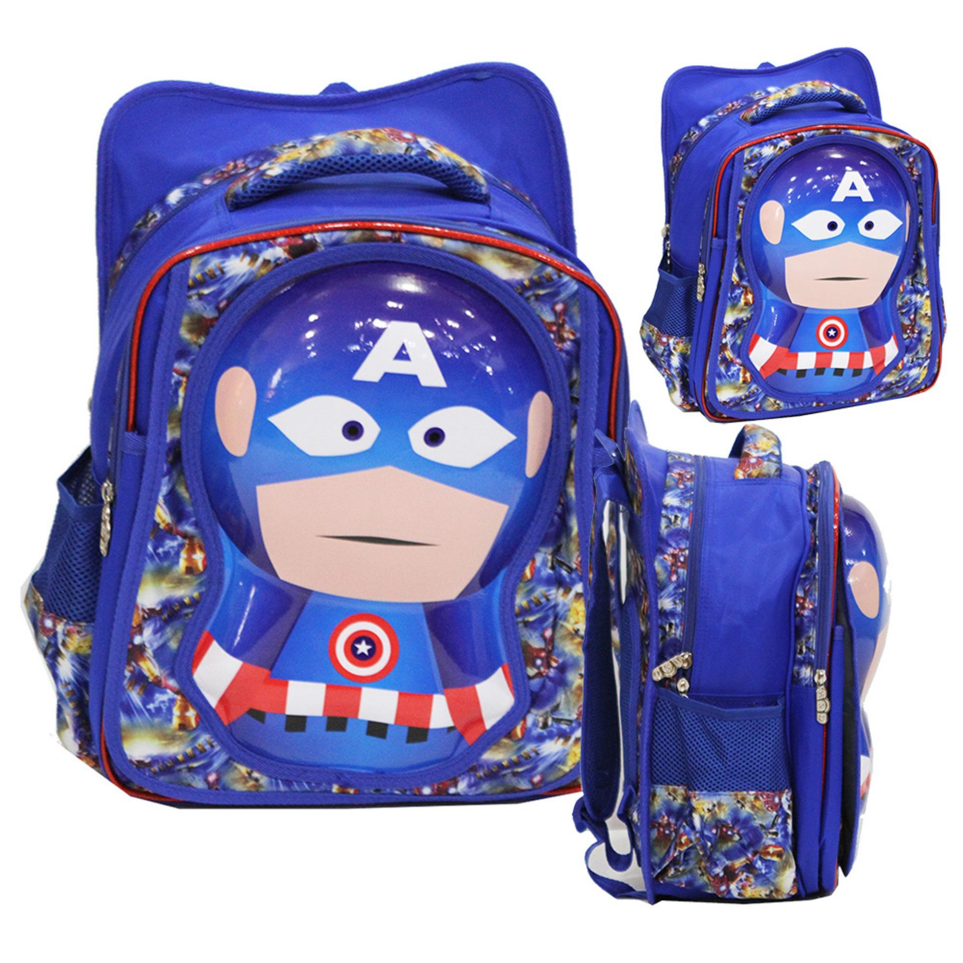 Jual Onlan Tas Ransel Anak Sekolah Sd Motif Karakter Captain America 6D Timbul Import Blue Murah