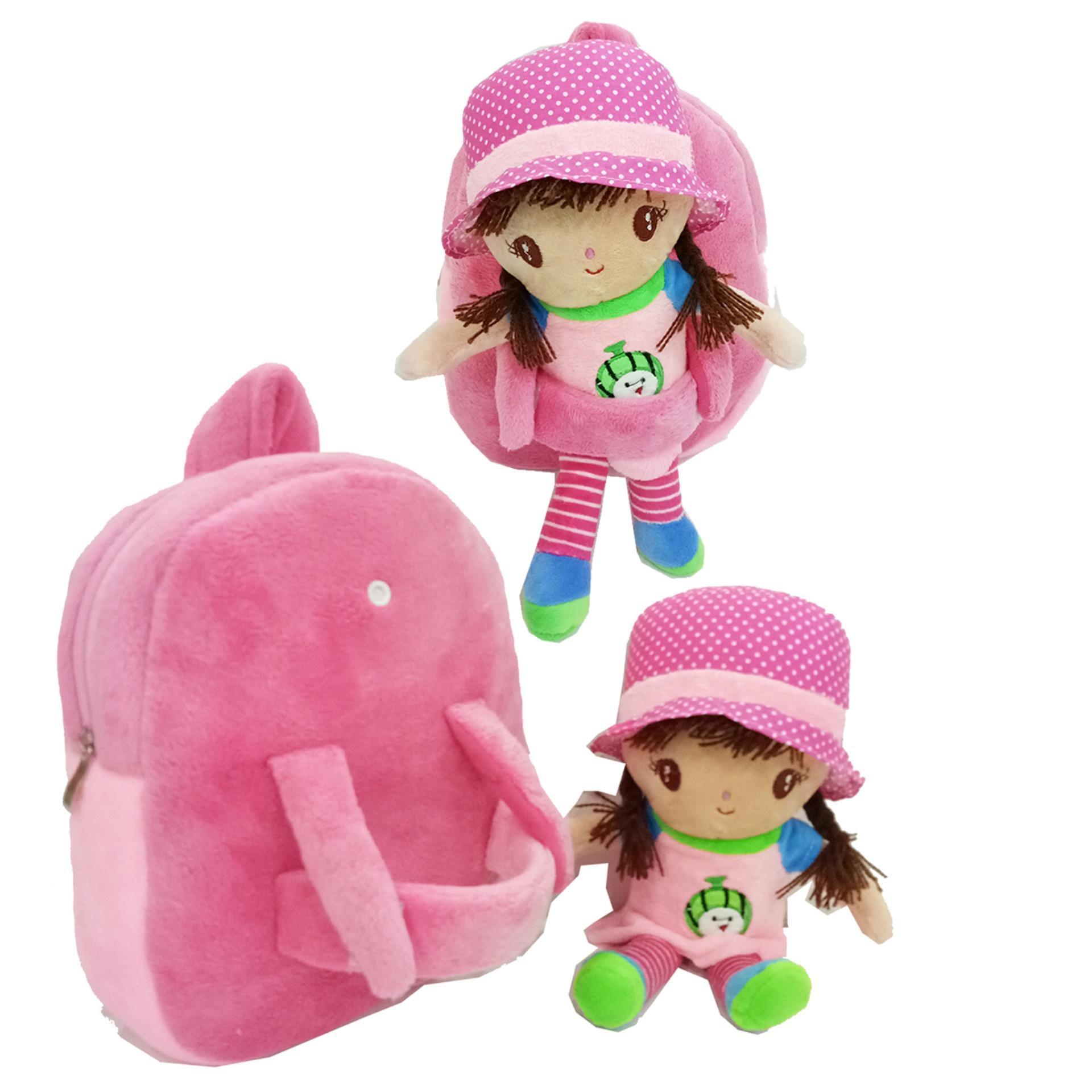 Onlan Tas Ransel Boneka Anak Perempuan Bahan Halus Lembut Ukuran Paut  ( Boneka bisa dilepas)
