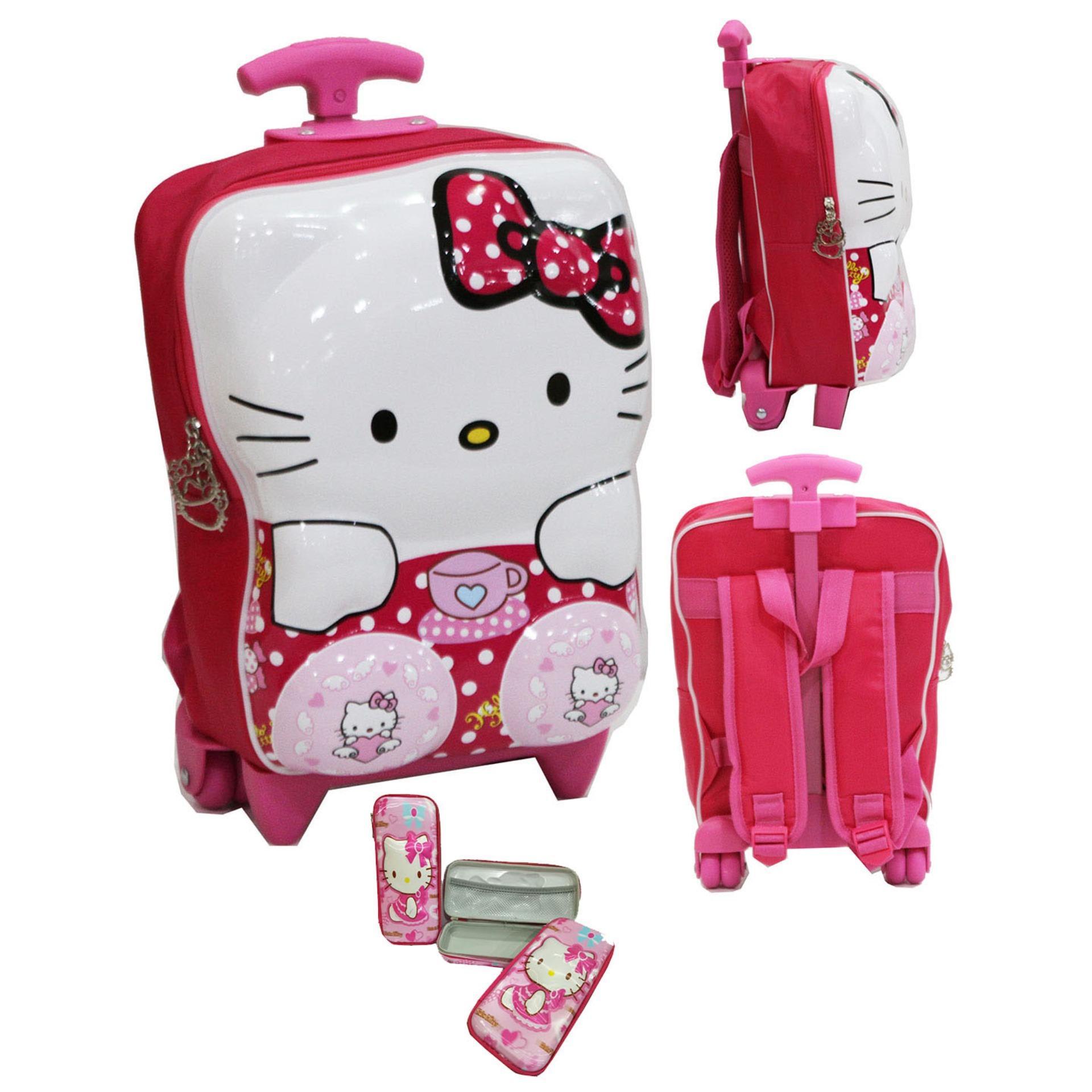 Onlan Tas Trolley Anak Perempuan TK atau PG Bahan Hard Cover + Kotak Pensil Timbul