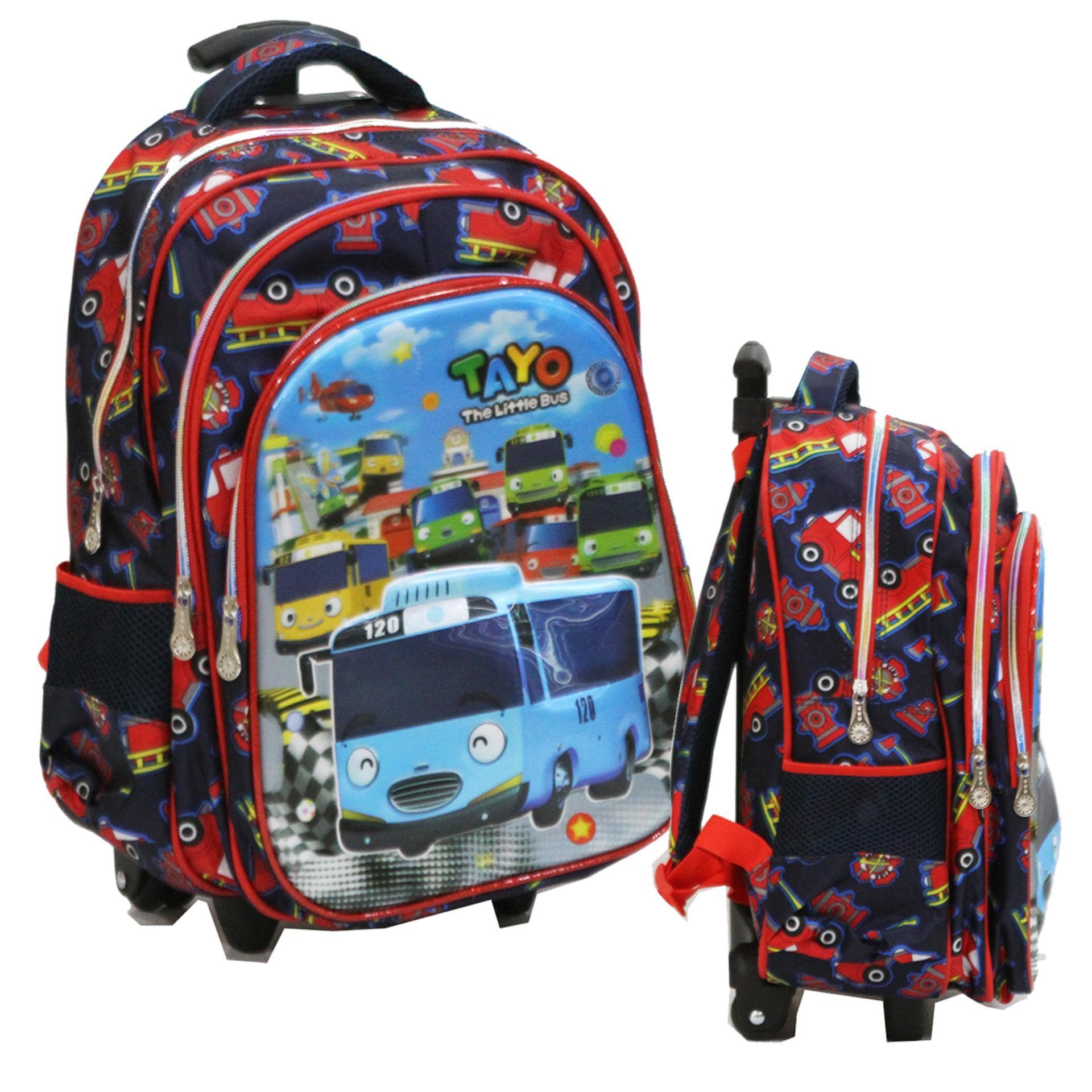 Promo Onlan Tas Trolley Anak Sekolah Sd Bus Tayo 5D Timbul Unik 3 Kantung Import Akhir Tahun