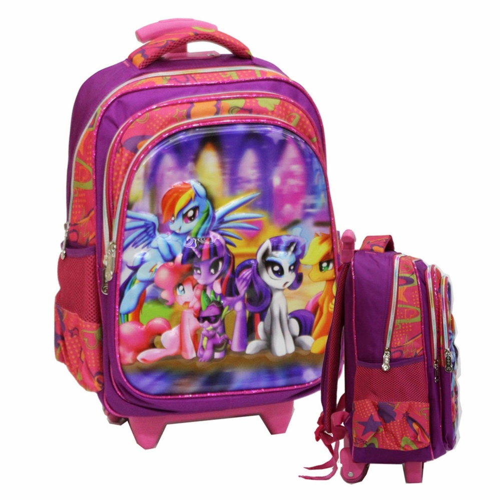 Review Tentang Onlan Tas Trolley Anak Sekolah Sd Import My Little Pony 5D Timbul Hologram Purple