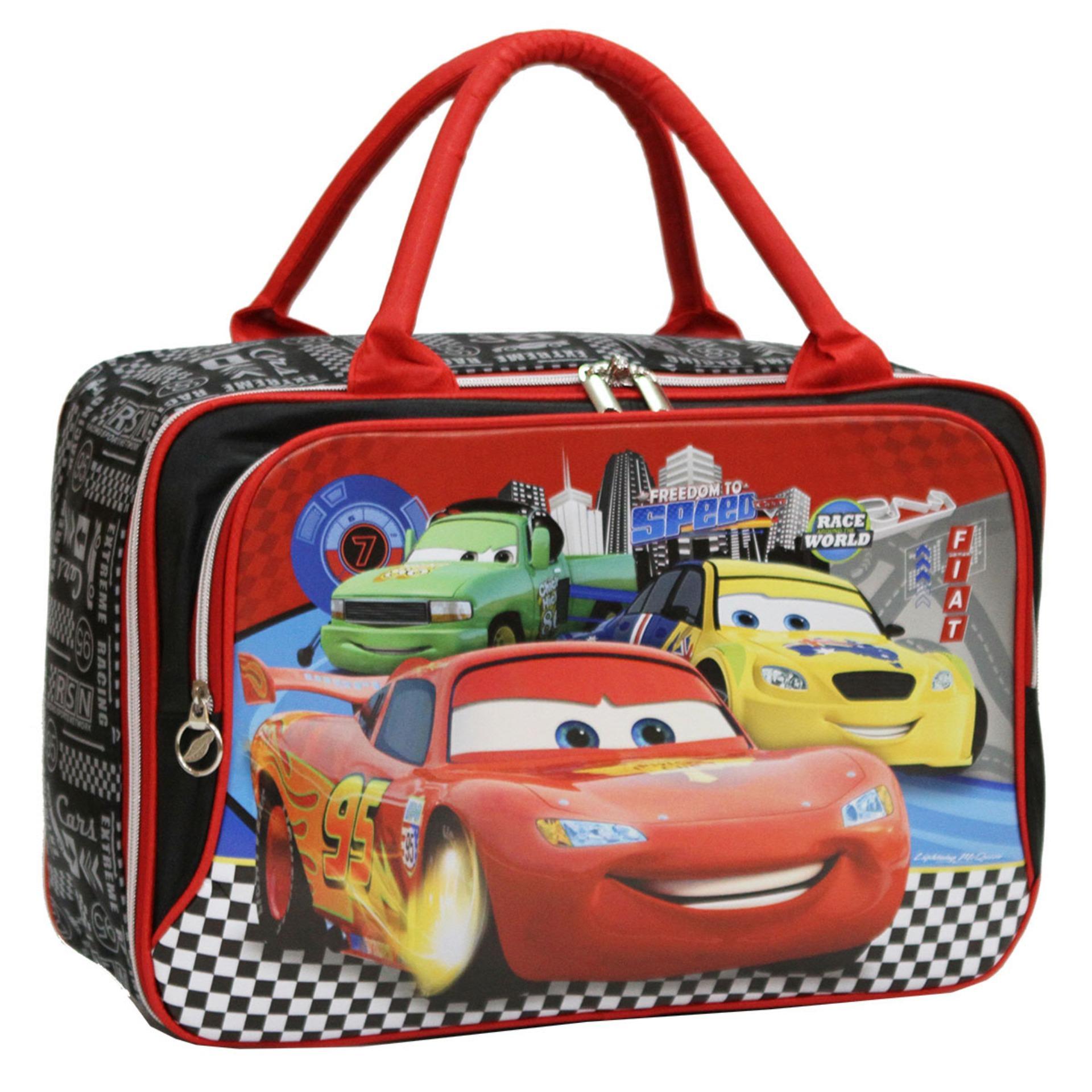 Jual Onlan Travel Bag Motif Cars Mcqueen Dua Kantung Kain Sponge Anti Air Red Lengkap