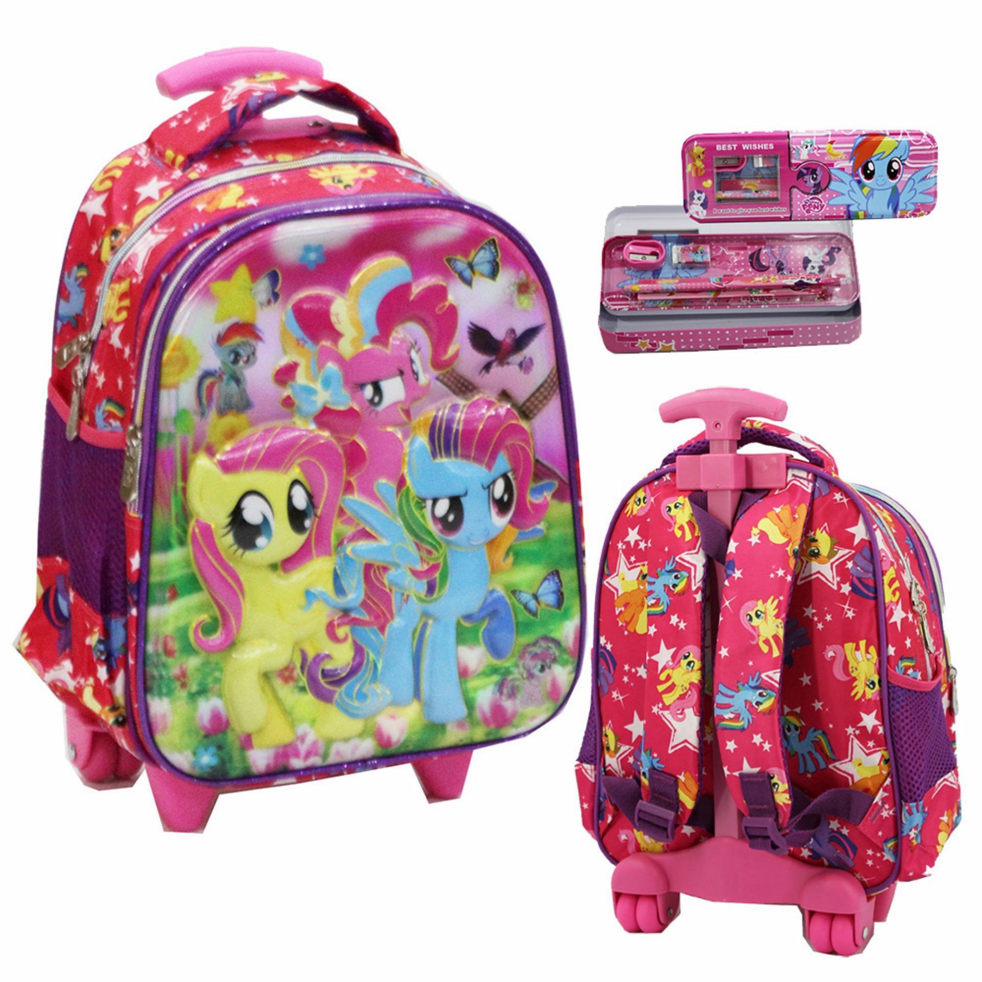 Harga Onlan Trolley Anak Sekolah Tk Dua Kantung Little Pony Dan Kotak Pensil Set Alat Tulis Pink Yang Murah