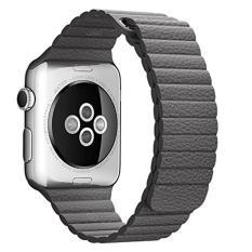 Ooplm 38mm Genuine Leather Loop dengan Magnet Lock Strap Penggantian Band untuk Apple Watch (Grey