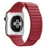 Jual Ooplm 38Mm Genuine Leather Loop With Magnet Lock Strap Penggantian Band To Apple Watch Merah Ori
