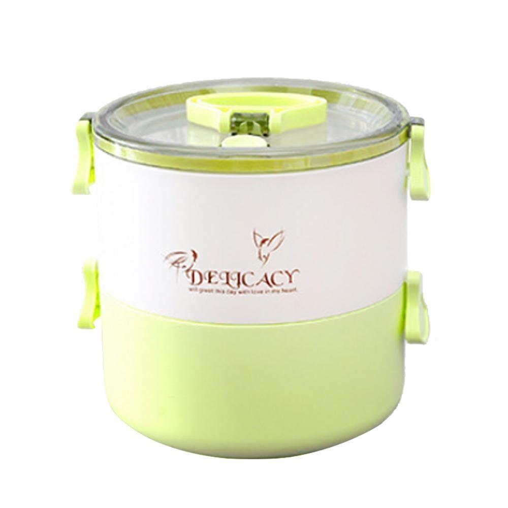 Ooplm Double-Deck Leakproof Sealed Portable Lunch Box untuk Anak Dewasa, BPA Free, Freezer Safe, Bento Kotak Penyimpanan Makanan Container-Biru-Intl