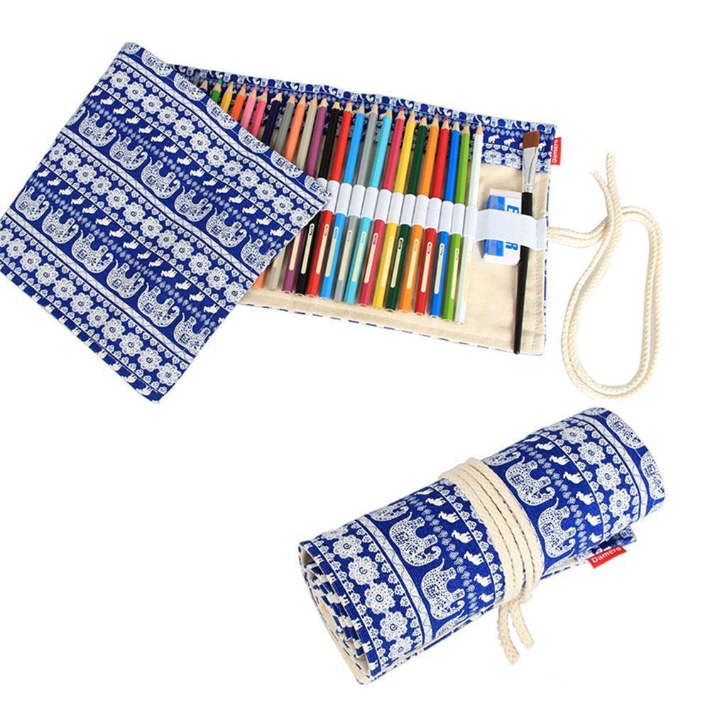 Ooplm Handmade Pola Gajah Pensil Pensil Bungkus Kreatif Pensil Warna Berwarna Pensil Roller, 36 Lubang