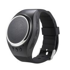 Ooplm Olahraga Musik Bluetooth Nirkabel Speaker Watch A dengan FM Radio, Panggilan Handsfree, TF Kartu Bermain, Selfie Rana, Jam Alarm HP Anti-hilang untuk Smartphone, HITAM
