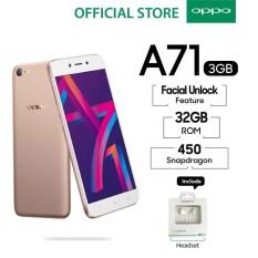 OPPO A71 Smartphone AI Beauty Camera 3GB/32GB Gold - (Cicilan TANPA Kartu Kredit, Metode COD, Cicilan 0%)