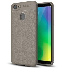 OPPO A79 Litchi Texture Design Soft TPU Anti-skip Protective Cover Back Case (Grey) - intl