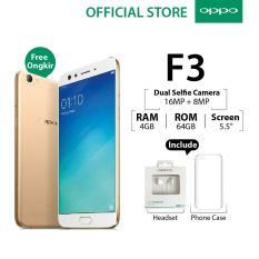 Oppo F3 4GB/64GB Gold– Smartphone Dual Selfie Camera (Garansi Resmi Oppo Indonesia, Cicilan Tanpa Kartu Kredit, Gratis Ongkir)