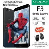 Harga Oppo F3 Selfie Expert Dual Front Camera Ram 4Gb Rom 64Gb Black Original