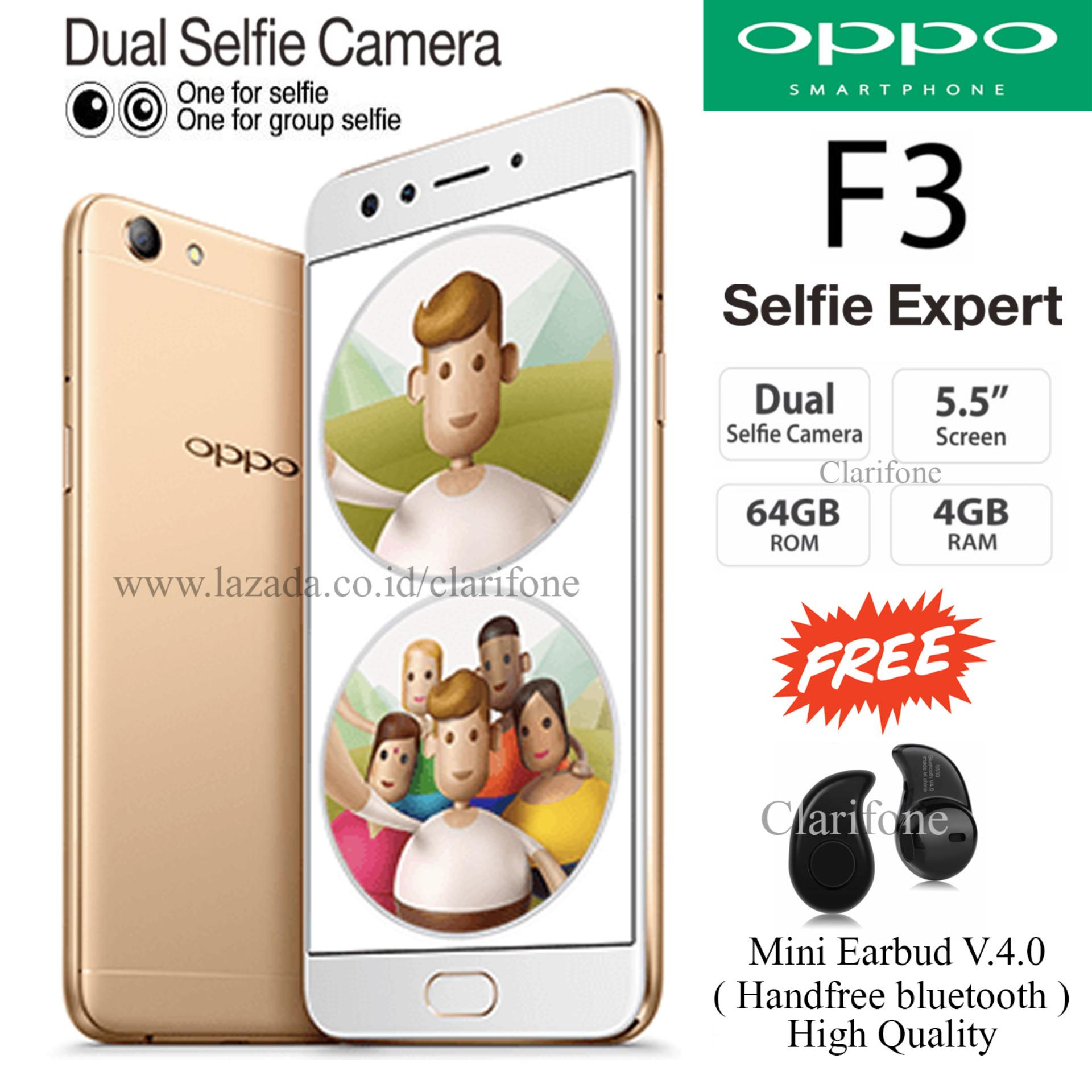 "Exclusive Gift "" Handfree Bluetooth "" Oppo F3 - Selfie Expert - Dual Front Camera - Ram 4GB - Rom 64GB -"