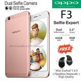 Harga Oppo F3 Selfie Expert Dual Front Camera Ram 4Gb Rom 64Gb Rose Gold Yg Bagus
