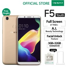 "OPPO F5 Youth 3GB/32GB Gold – Smartphone Full Screen 6"" FHD+ (Garansi Resmi Oppo Indonesia, Gratis Ongkir)"