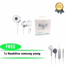 Oppo Handsfree Headset Jack 3.5mm Extra Bass Original - Putih + Samsung Handsfree S6310/5360 Untuk Samsung Galaxy Young/Wonder Original - Putih
