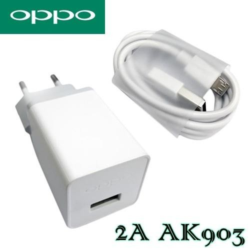 [100% Original] Travel Charger Adapter High Speed Micro USB 2A (AK903) for Oppo Neo 7 / 9 / F1 / F3 / A57 / A39 / F1s - Putih
