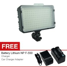 Optic Pro LED 198 Video Light for Camera DSLR Canon Nikon,Camcorder, Free Battery dan Charger