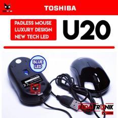 Optical Mouse Toshiba U20 Blue LED Padless KACA USB Black MURAH Optik
