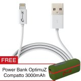 Promo Optimuz Kabel Lightning 8 Pin I5 Apple Mfi Certified 1M Putih Gratis Power Bank Di Dki Jakarta