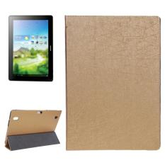 Oracle Texture Magnetic Leather Case with Three-folding Holder for Huawei MediaPad 10 Link / S10-201(Gold) - intl