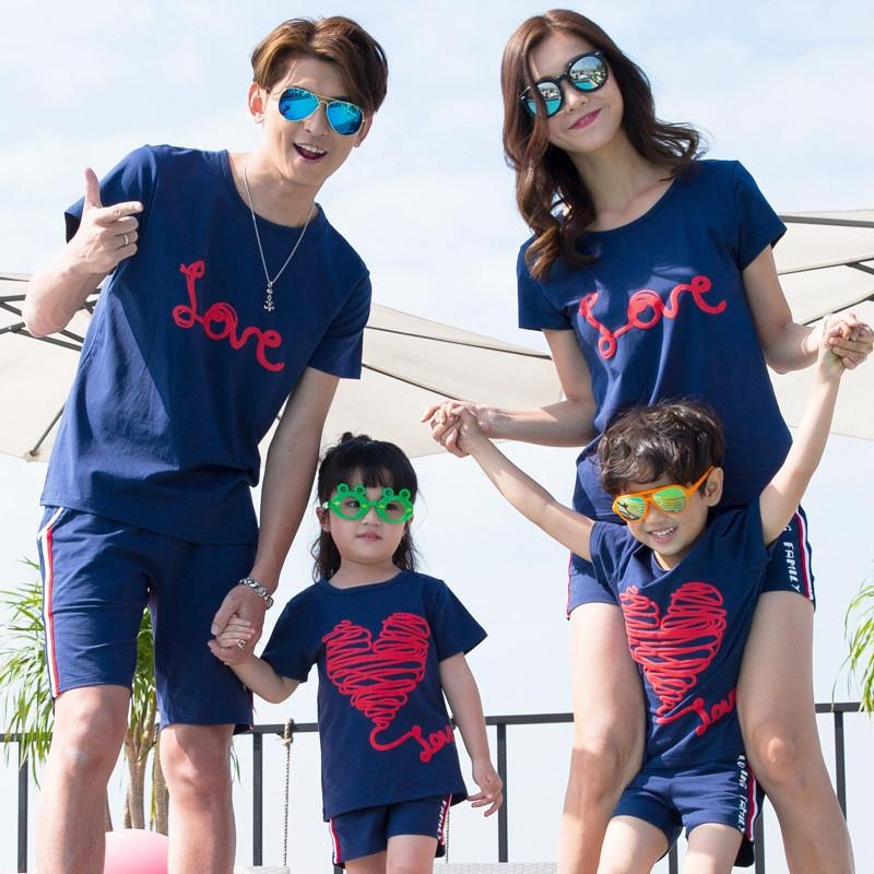 Parent-child Matching Pair of Beach Mother and Daughter Suit Large Size Cotton Short Sleeve T-shirt Blue