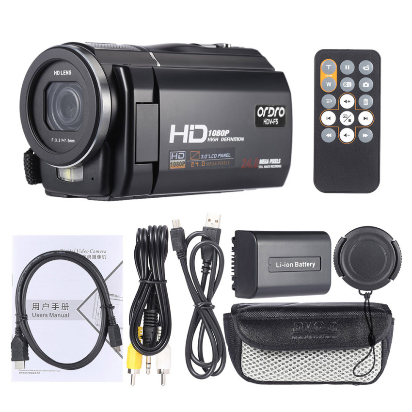 Ordro Hdv F5 1080 P Full Hd 3 Rotatable Layar Sentuh Lcd Digital Perekam Video Kamera Camcorder Dv Dvr 24Mp 16X Digital Zoom Anti Goyang Dengan Remote Kontrol Outdoorfree Ordro Diskon