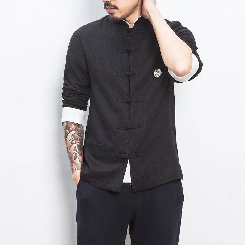Jual Oriental Style Gaya Cina Bordir Lengan Panjang Gelang Rajutan Atasan Kain Linen Kemeja Hitam Baju Atasan Kaos Pria Kemeja Pria Other Original