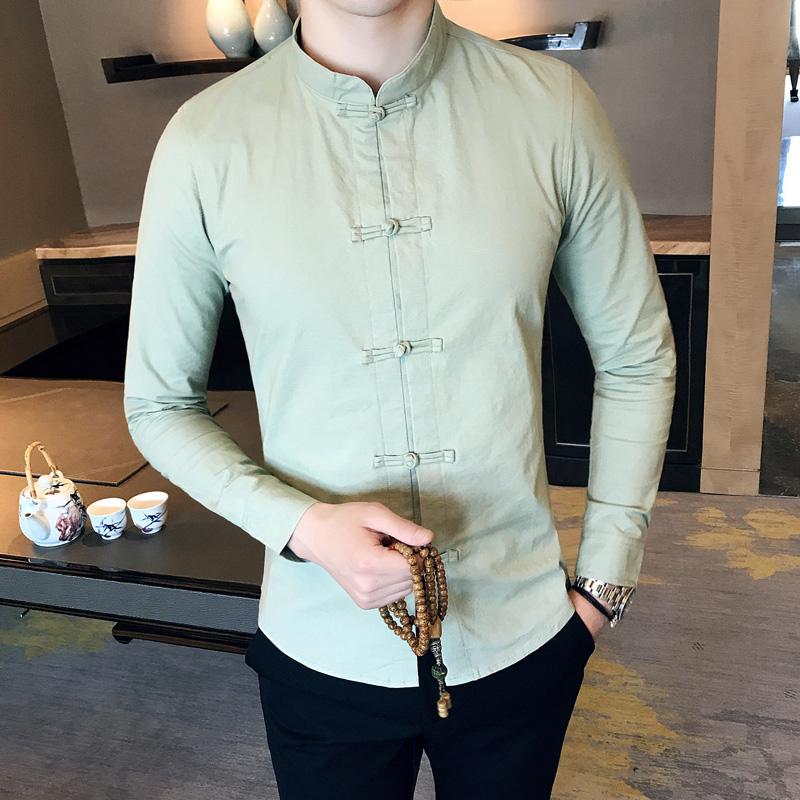 Spesifikasi Oriental Style Gaya Cina Laki Laki Lengan Panjang Slim Kasual Kemeja Kemeja Hijau Baju Atasan Kaos Pria Kemeja Pria Murah Berkualitas