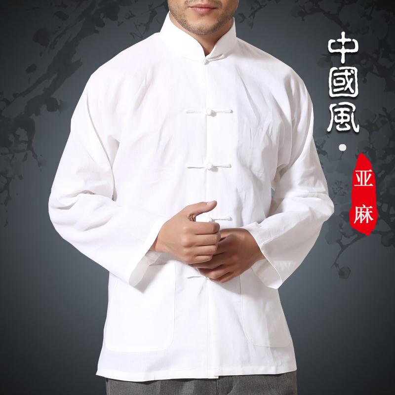 Oriental Style Kemeja Kain Linen Kostum Dinasti Tang Baju Dalaman Pakaian Adat Tiongkok Pria (Putih)