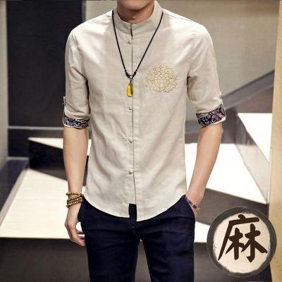 Jual Oriental Style Retro Musim Gugur Kemeja Kain Linen Kemeja Warna Beras Baju Atasan Kaos Pria Kemeja Pria Murah Di Tiongkok