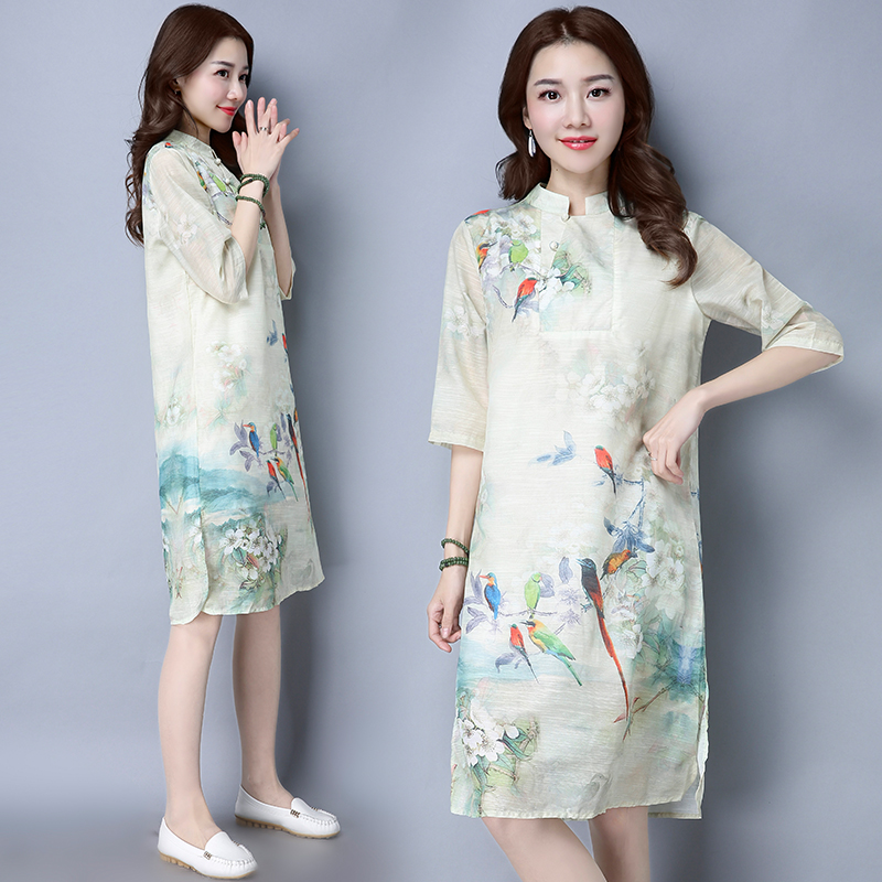 Toko Gaya Oriental Sutra Musim Semi Dan Musim Panas Baru Imitasi Lengan Kelima Gaun Warna Baju Wanita Dress Wanita Gaun Wanita Online Terpercaya