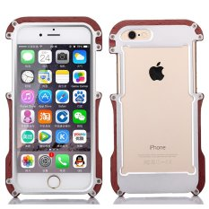 Asal R-just Kayu + Aluminium Logam Bumper Shockproof Phone Cover Case untuk IPhone 6