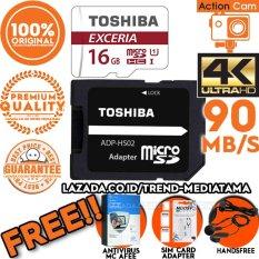 Original 100% Toshiba Micro SD 90Mb/s (4k Action Cam / Gopro / Smartphone) Class10 UHS-3 Gratis Antivirus MC Afee + Noosy Sim card Adapter + Handsfree Bass