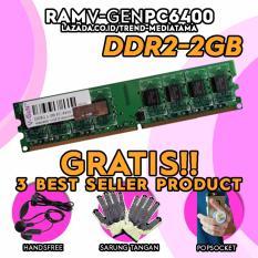 Original 100% Vgen Memory RAM 2GB DDR2 PC6400 - 800Mhz Gratis Handsfree Headset + Pop Socket + Sarung Tangan Anti Panas