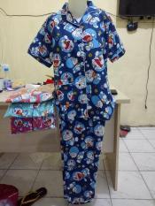 ORIGINAL  Baju Tidur Piyama CP Motif DORAEMON warna biru merah tosca ping