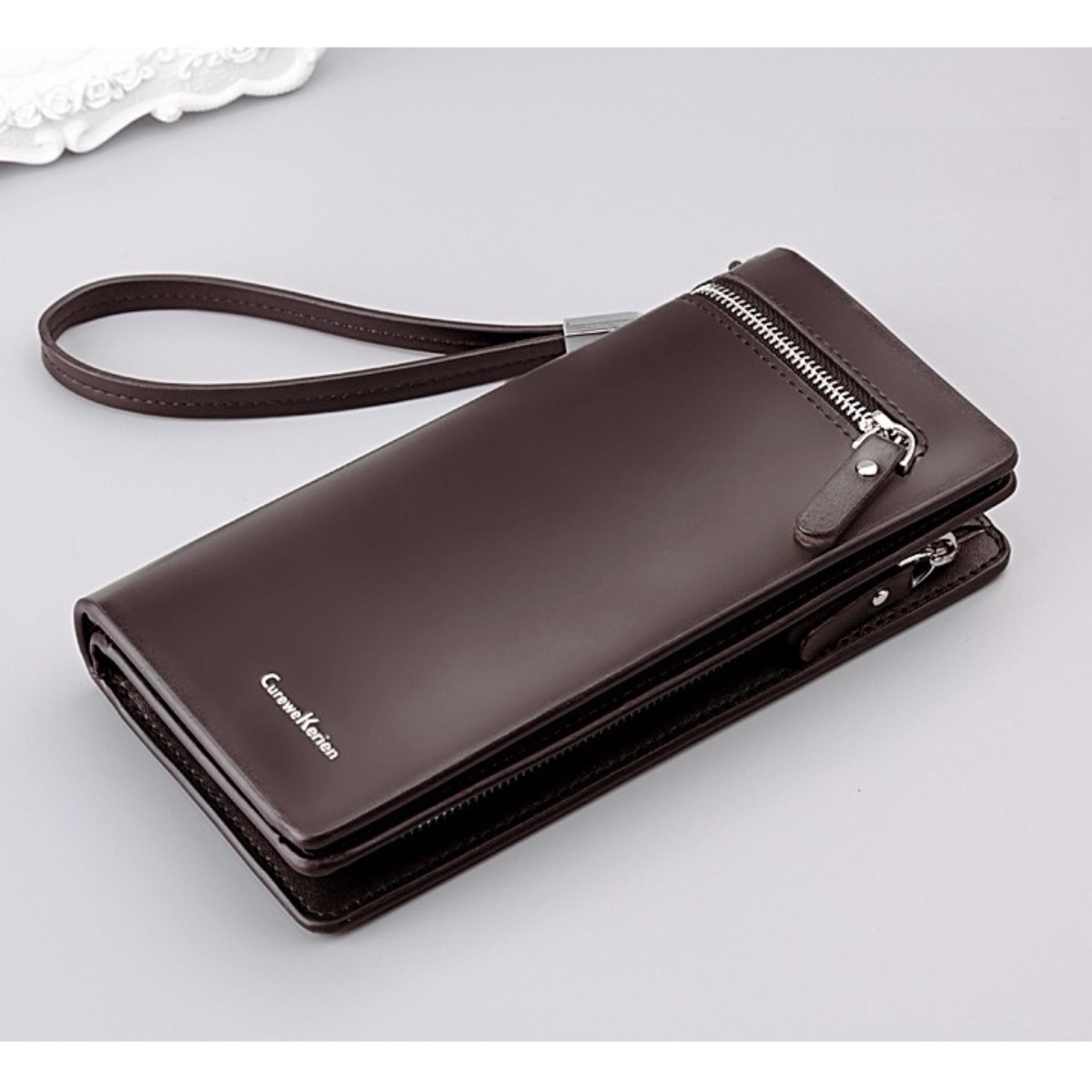 ORIGINAL Dompet Fashion Wallet Leather Curewe Kerien ADA TALI Pria Cowo Bisnis Eksekutif - COKLAT