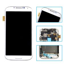 Asli untuk Samsung Galaxy S4 I9500 LCD Tampilan + Layar Sentuh Digitizer dengan Frame Warna Putih-Intl