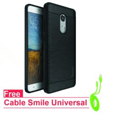 Original ipaky Back Case for xiaomi redmi Note 3 Pro - Black - Free Cable Data Smile